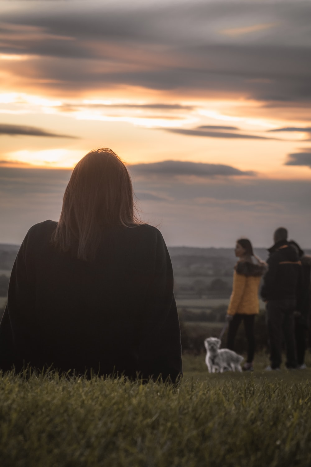 people standing on green grass field during sunset