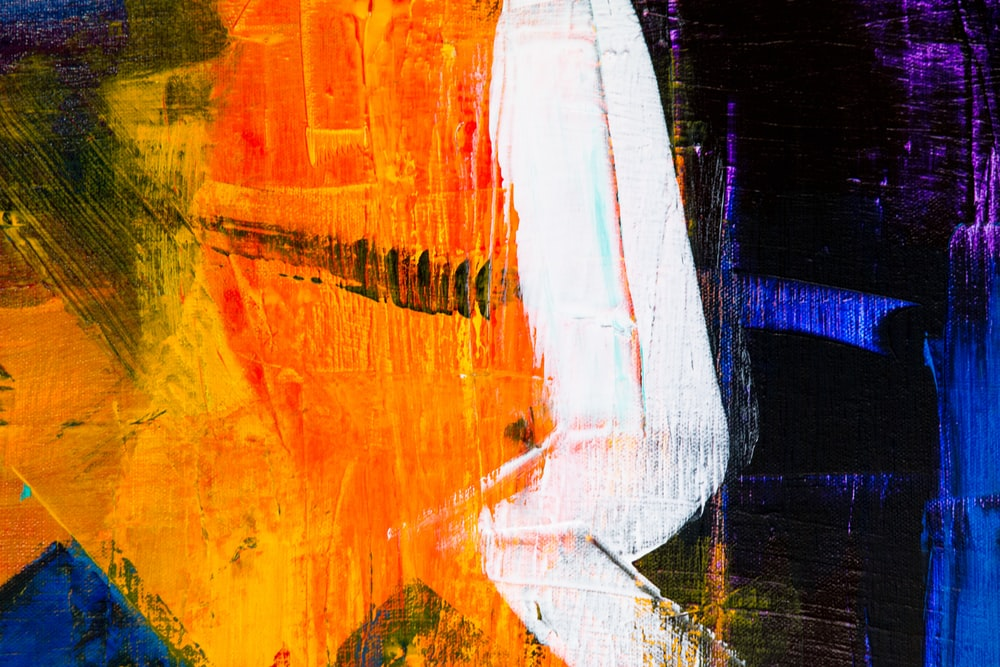 orange red and white abstract painting