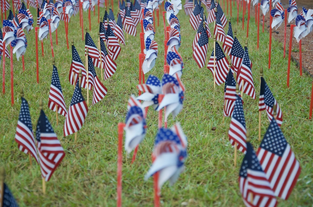 red white and blue flags on green grass field during daytime