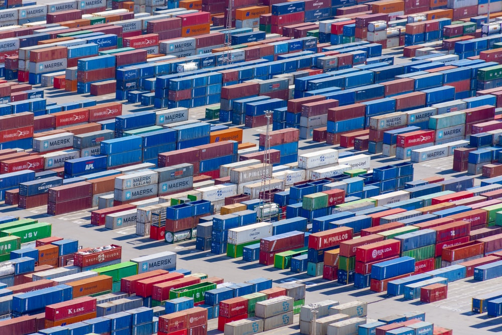 red blue and white plastic crates