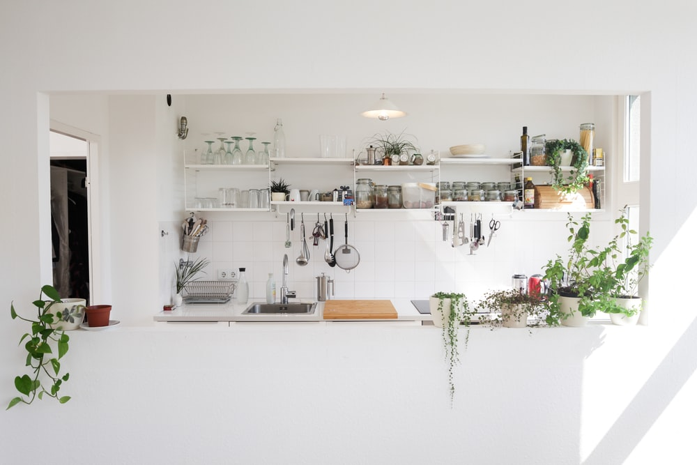 white wooden wall mounted shelf