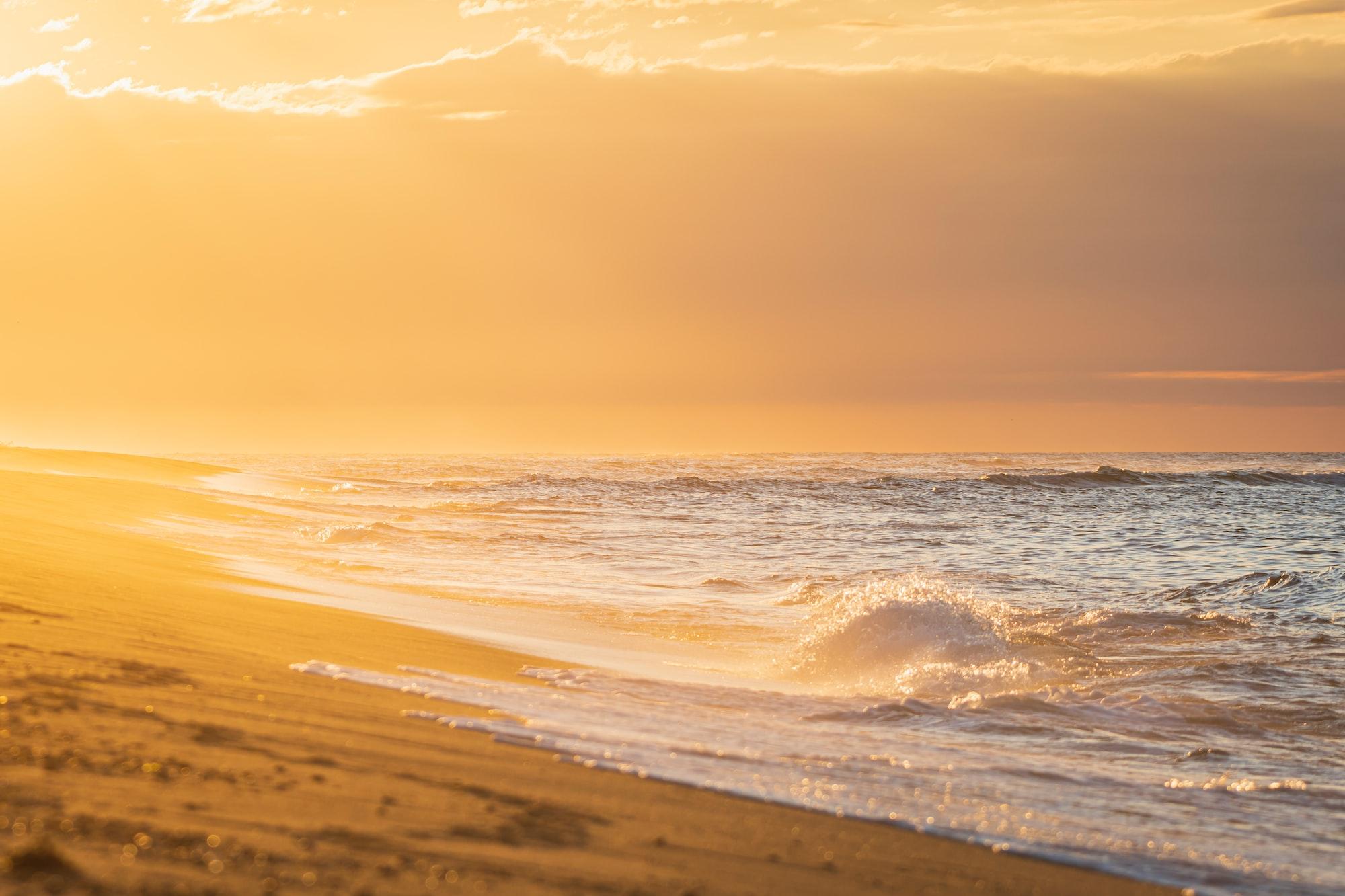 Atlantic Ocean Waves during golden sunset