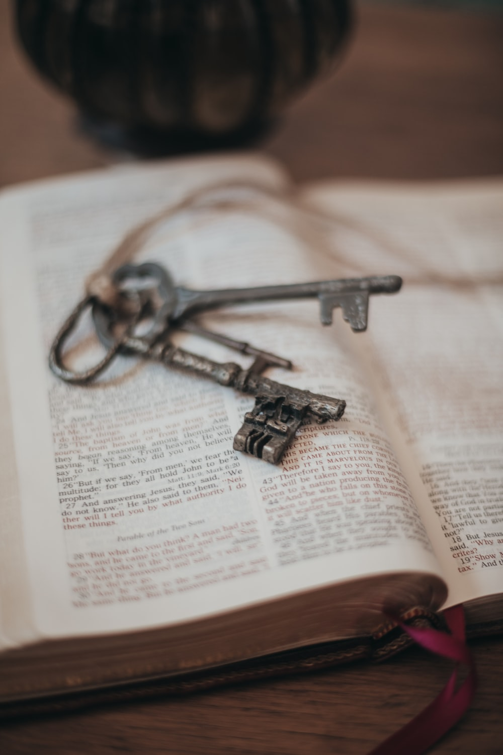 silver skeleton key on book page