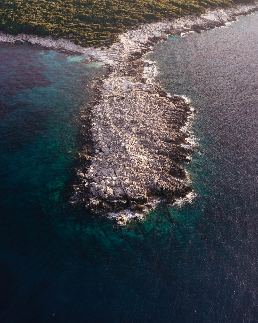 aerial view of green and brown island