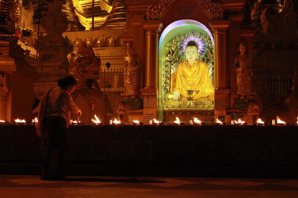 gold buddha statue in front of gold buddha statue