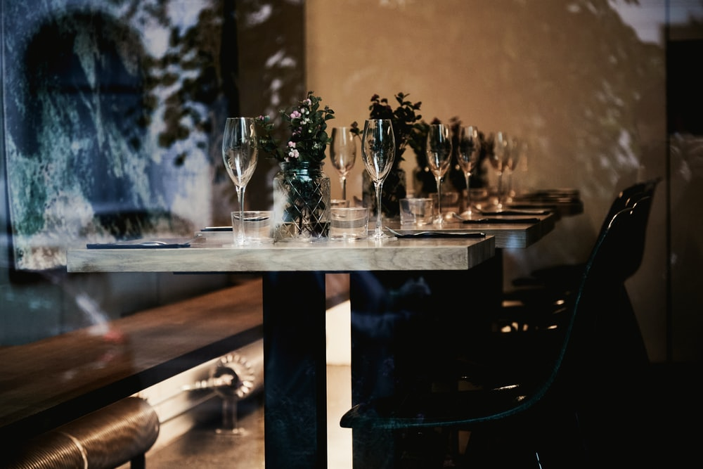 clear glass vases on table