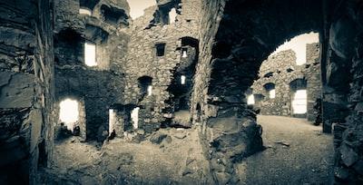 Dunskey Castle on the cliffs near Portpatrick