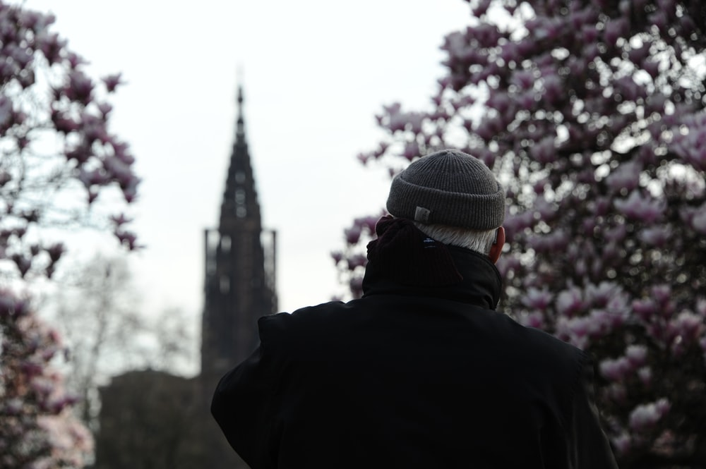 person in black jacket and gray knit cap standing near pink flower tree during daytime