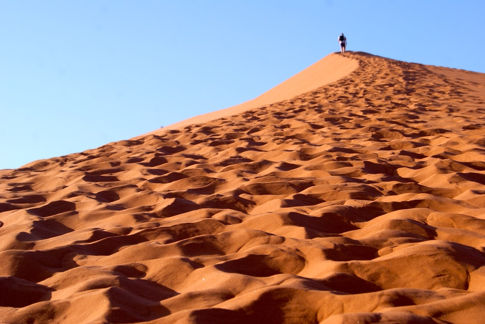 person standing on brown sand under blue sky during daytime