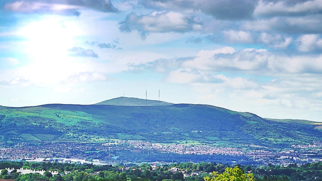 Overlooking South Belfast to Divis Mountain on a warm summer's day (shot from Burn Equestrian Centre, Jul., 2019).