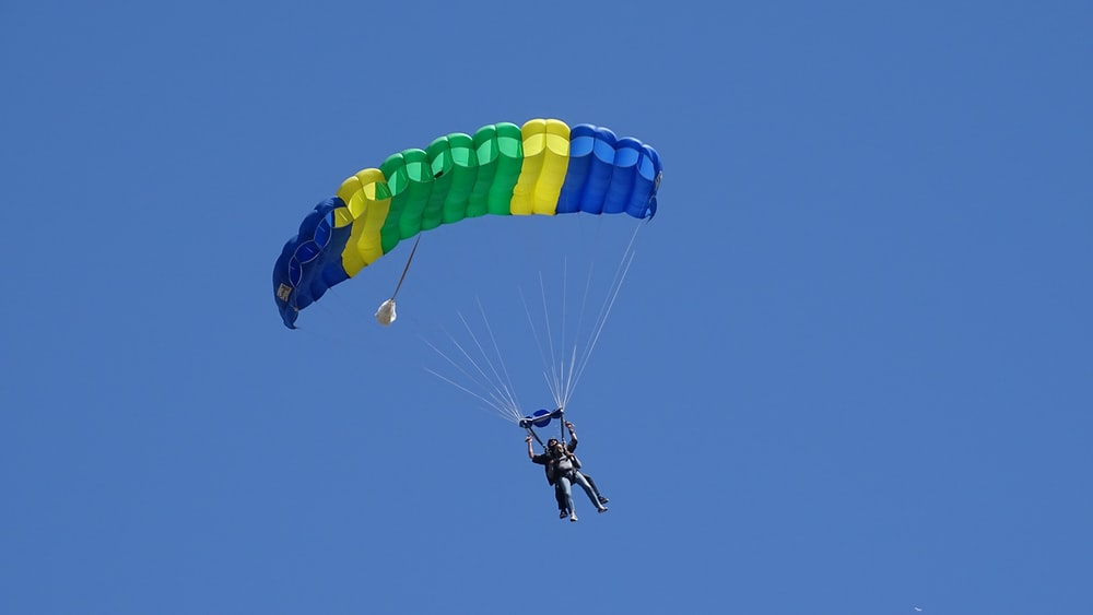 person in yellow and blue parachute