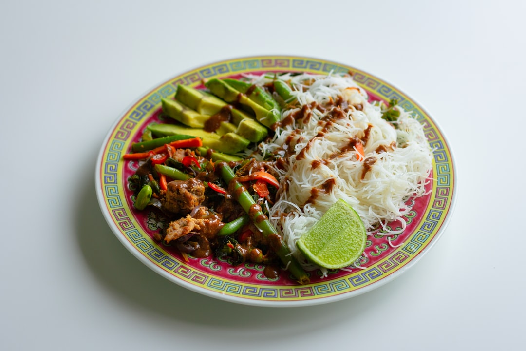 Vegan stir fry with rice vermicelli