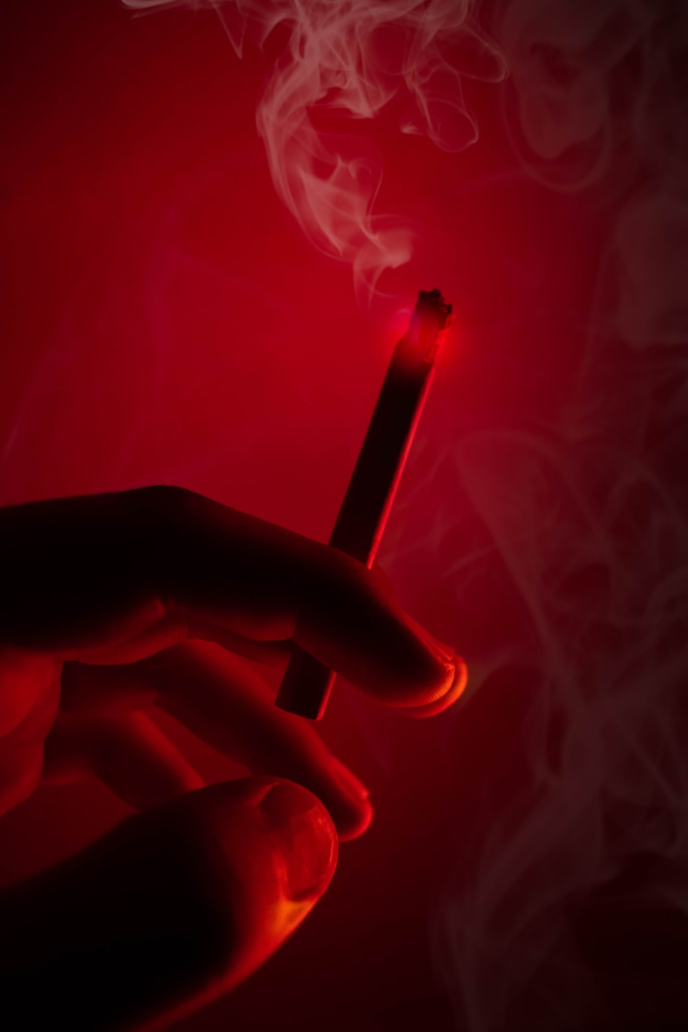 person holding lighted cigarette stick