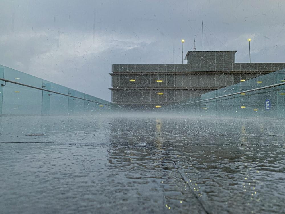 water splash on concrete wall