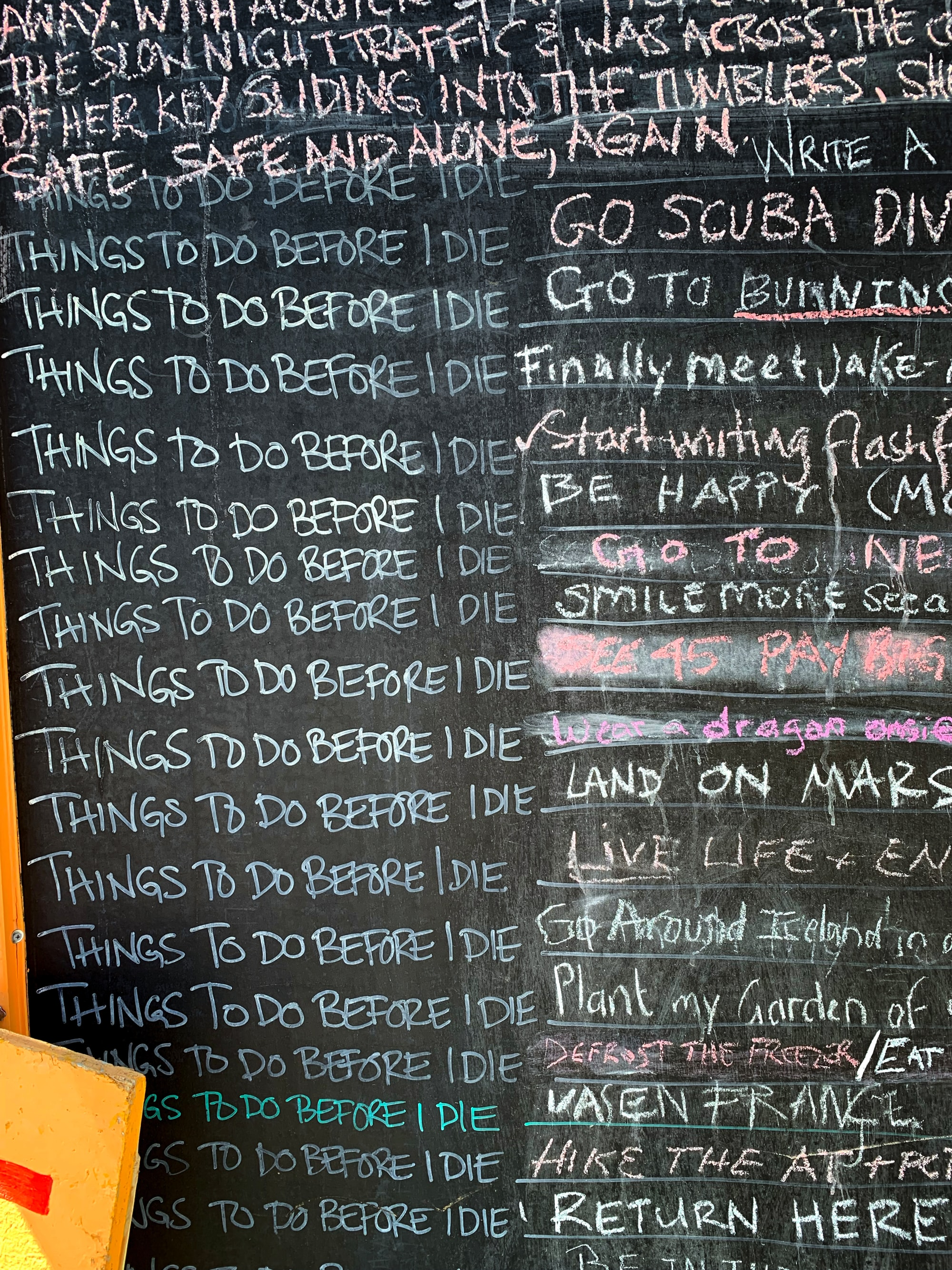 Things to do before I die, sign in Colorado