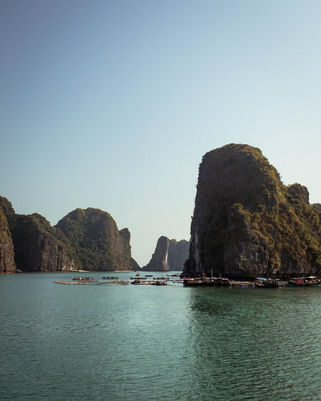 Traveling through Ha Long Bay, Vietnam by boat.