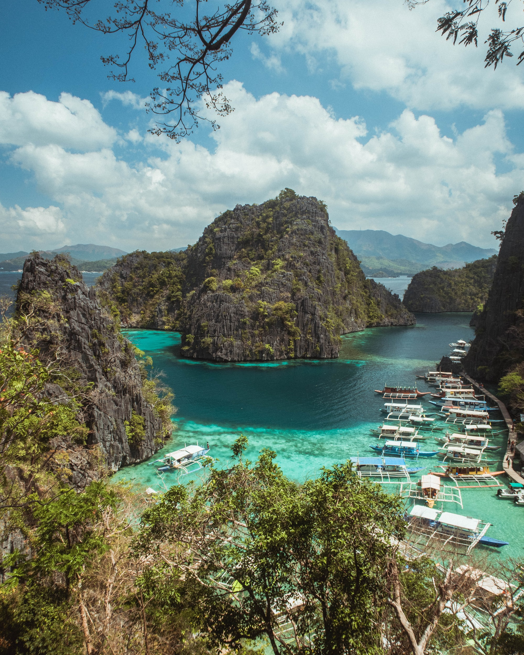 Looking over the water from a viewpoint near Kayangan Lake, Coron, Philippines.