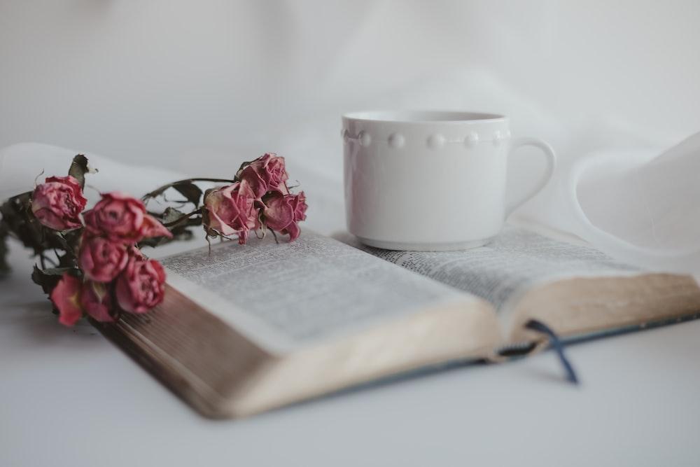pink rose on book page beside white ceramic mug