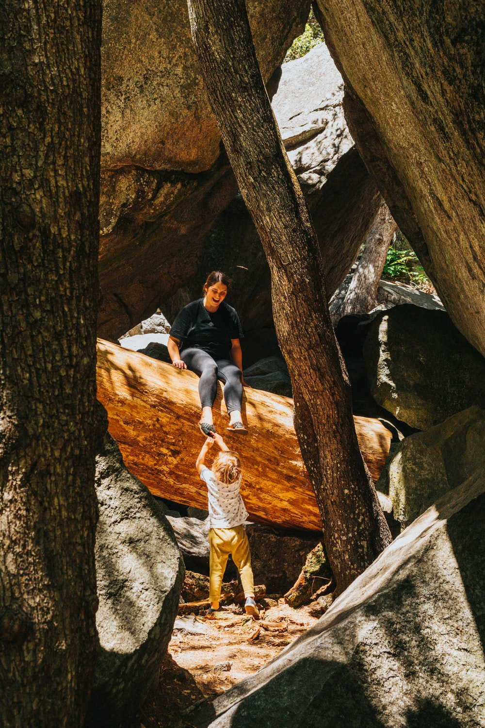 woman in black long sleeve shirt and blue denim jeans sitting on brown tree log during