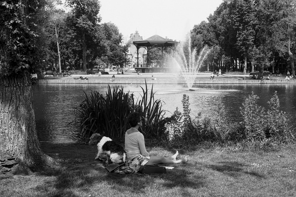 man sitting on bench near water fountain