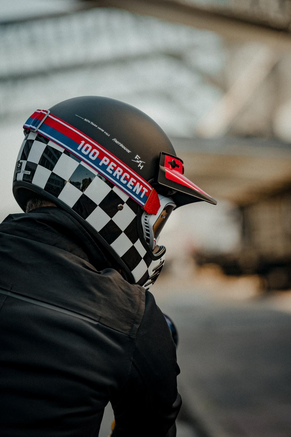 person wearing black and white helmet