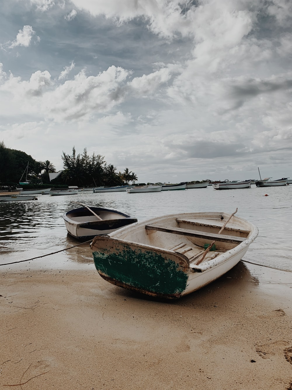 white and green boat on beach during daytime