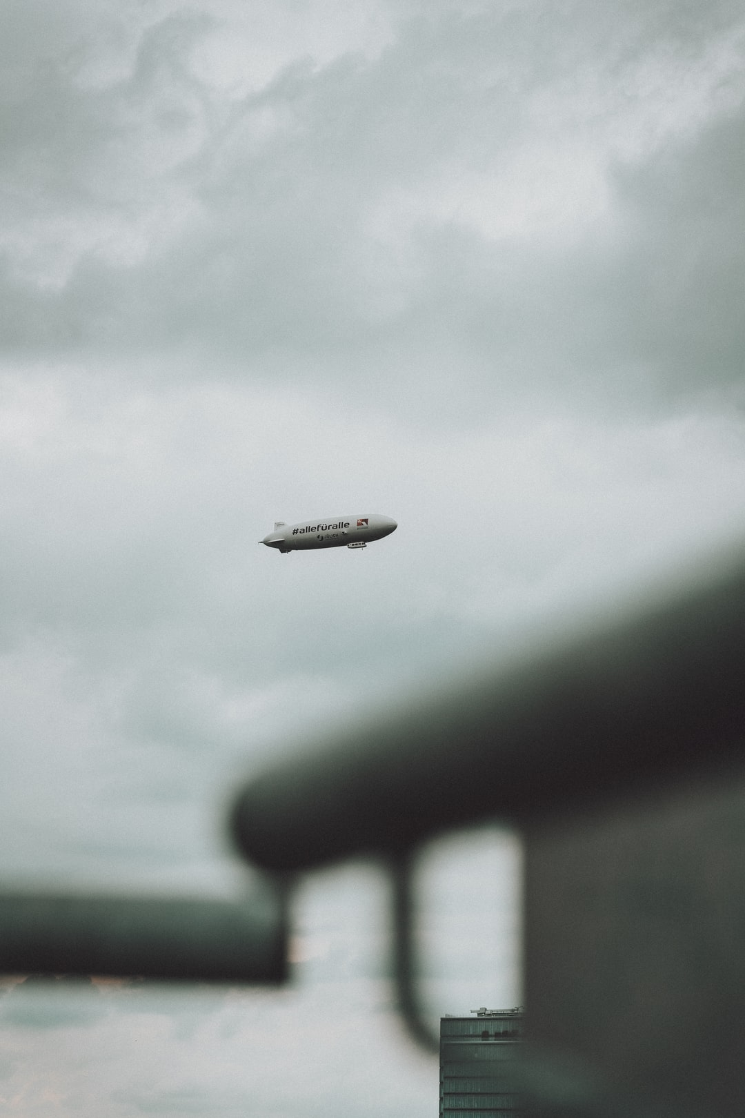 A zeppelin just flyin' over Cologne