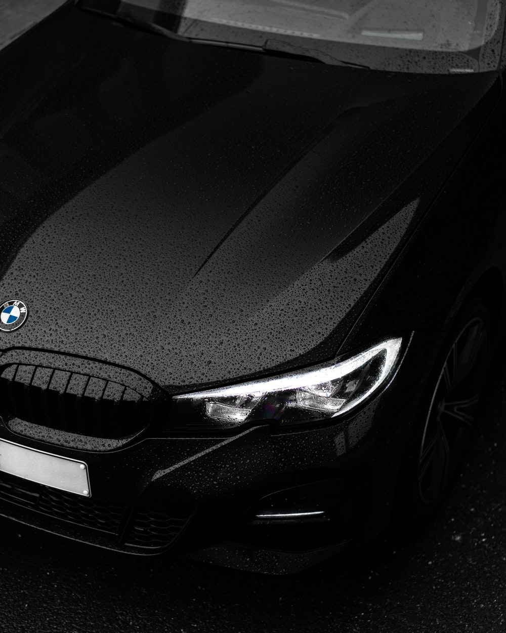 black bmw car in close up photography