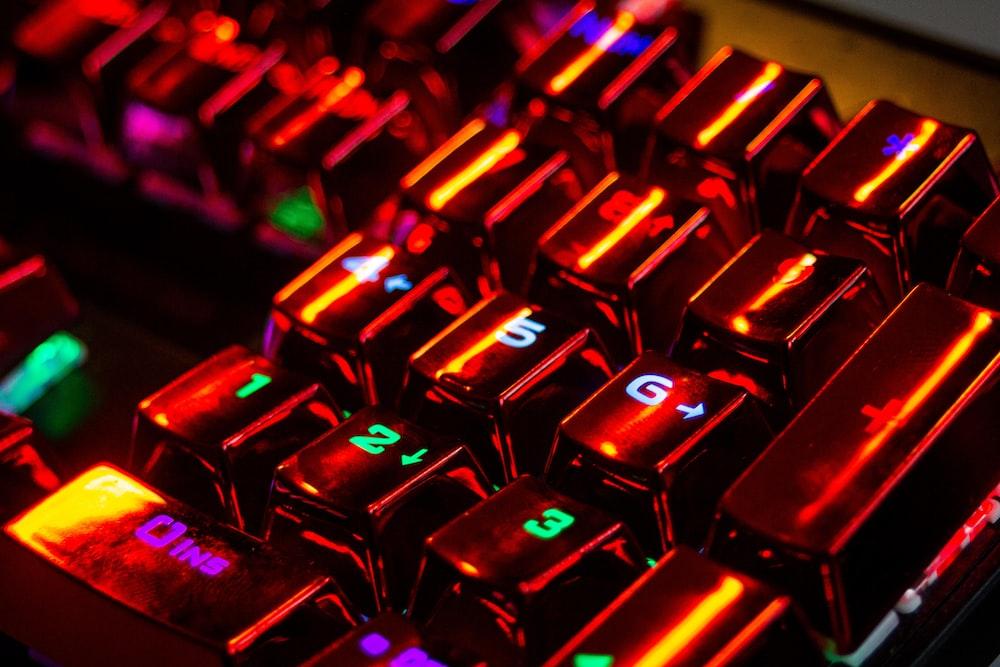 black and purple computer keyboard