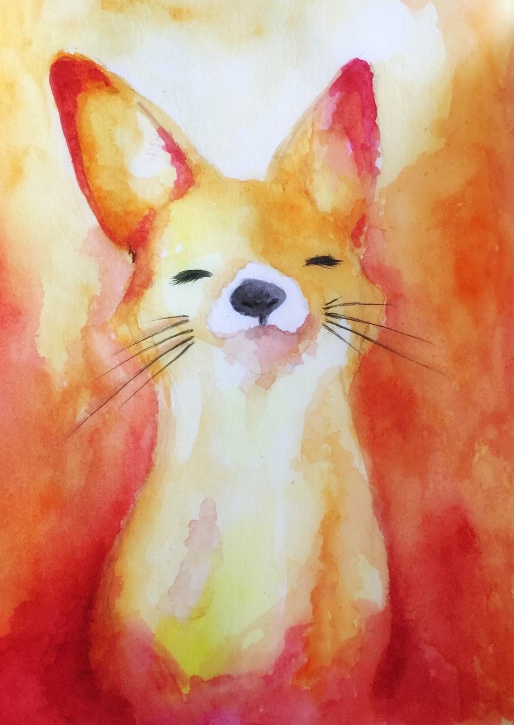 white and orange cat painting