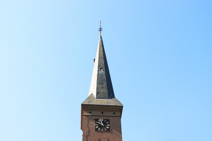 Tower of the village church in Ermelo, the Netherlands.