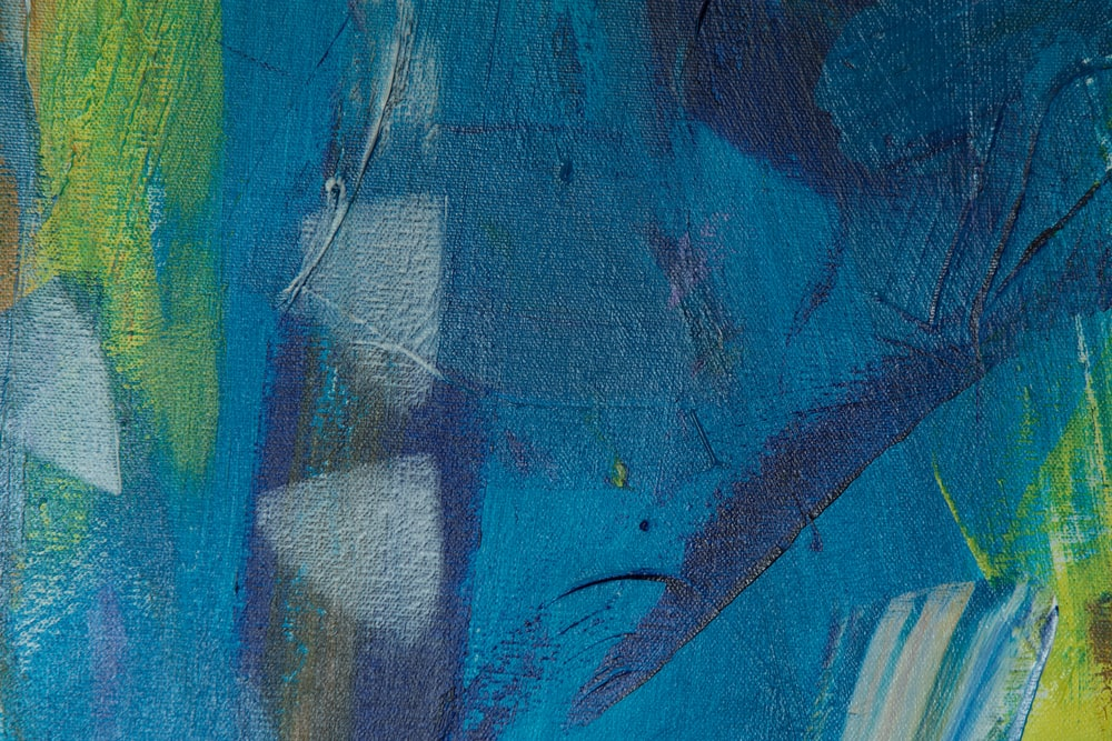 blue green and yellow abstract painting