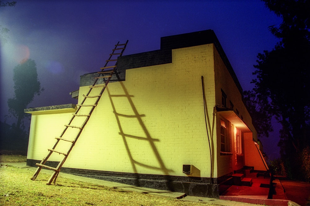 white concrete building during night time
