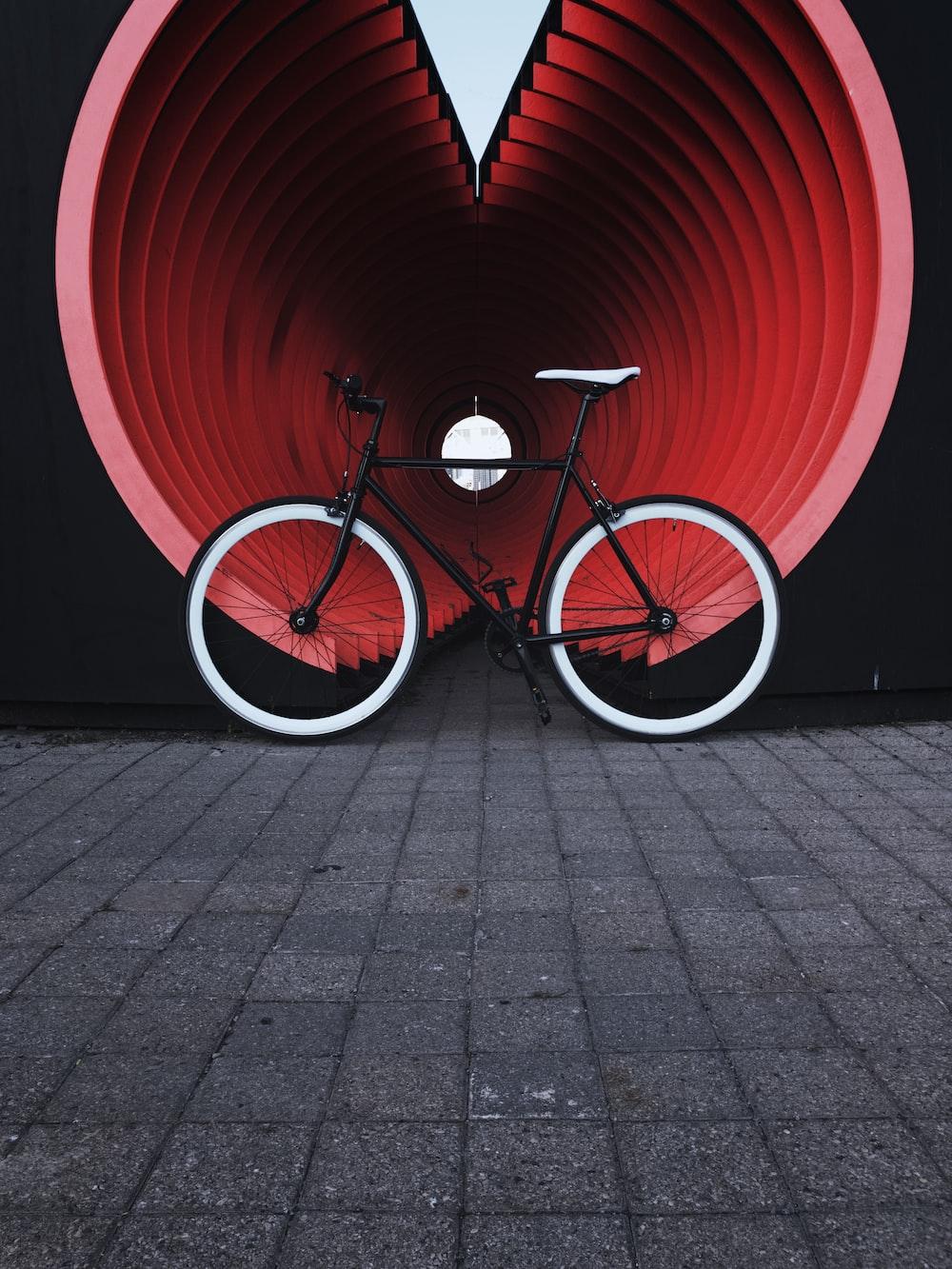 red and black road bike