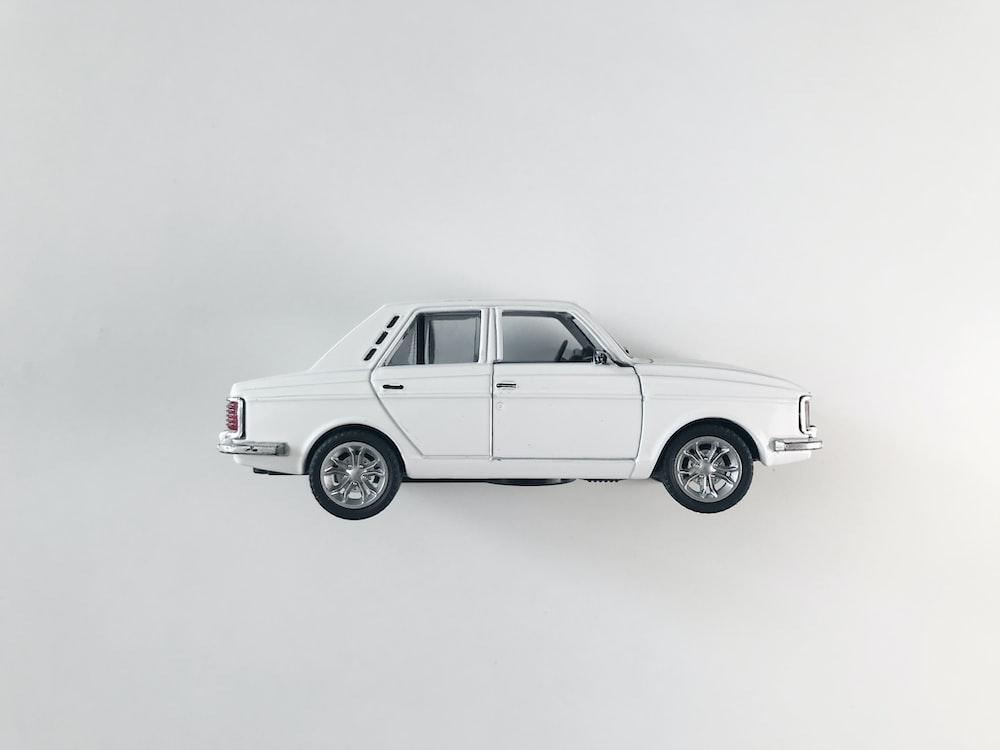 white sedan on white background