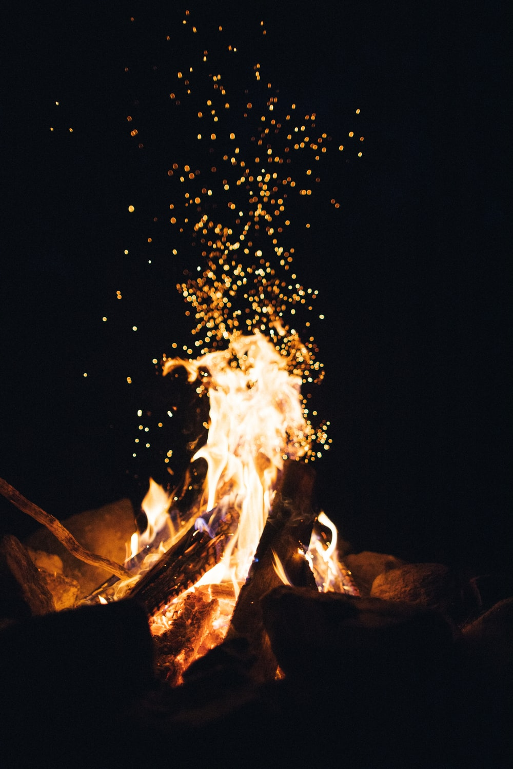 fire in the middle of a bonfire