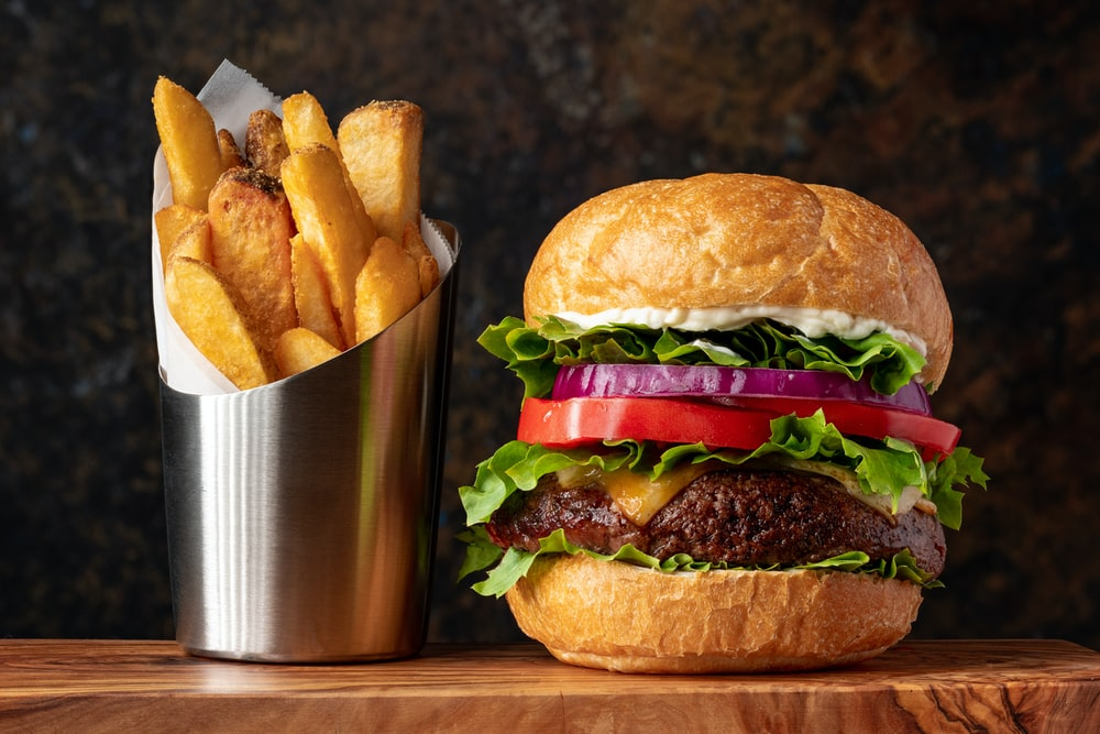 burger with lettuce and fries