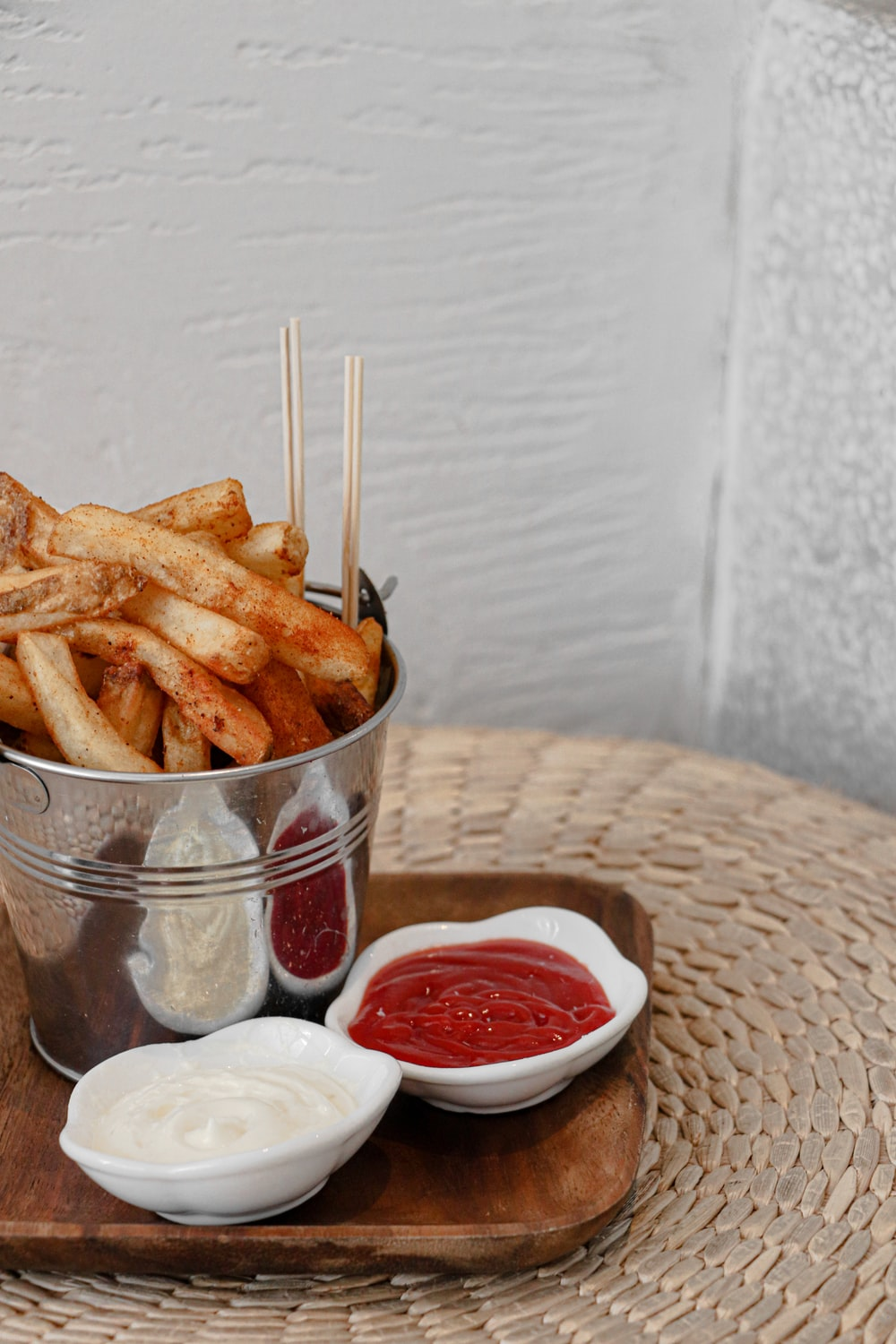 potato fries in brown woven basket