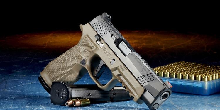 black and silver semi automatic pistol