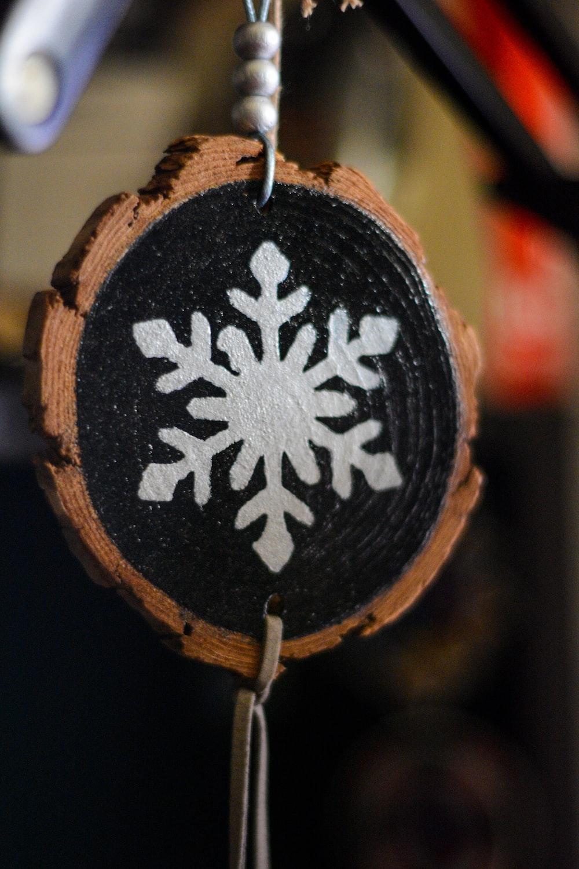 black and white snowflake print round ornament