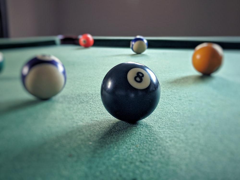billiard ball on billiard table