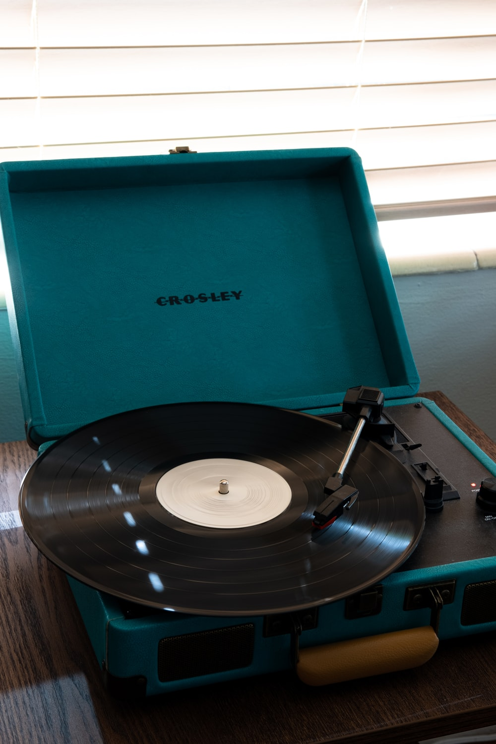 blue and black vinyl record player