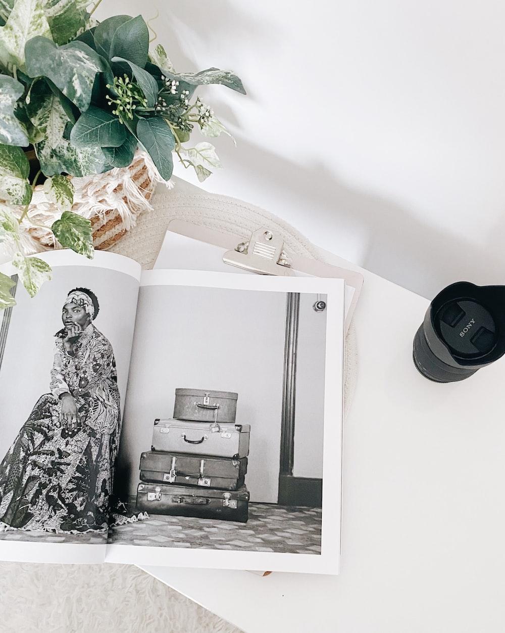 black and white printer on white wooden table