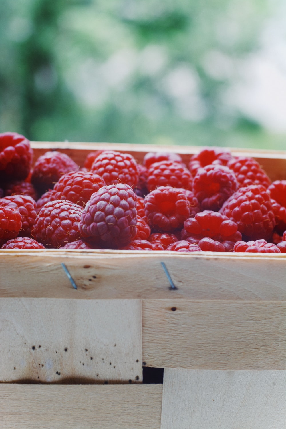red raspberry on brown wooden box