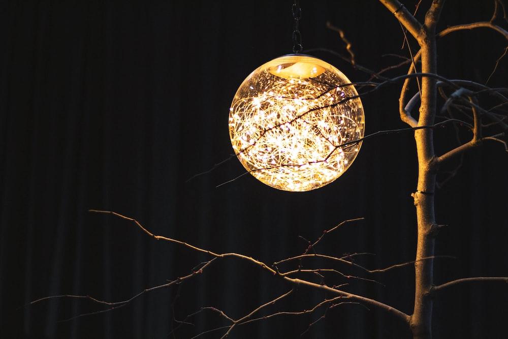 round brown ball hanging decor