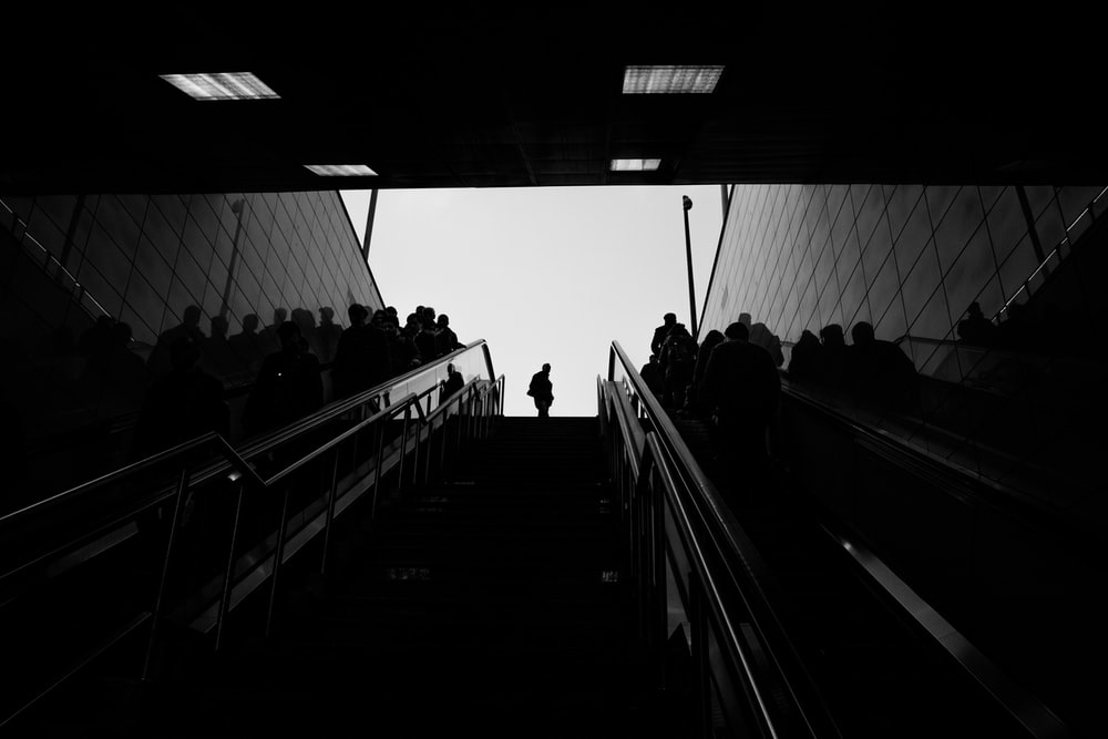 people sitting on stairs in grayscale photography