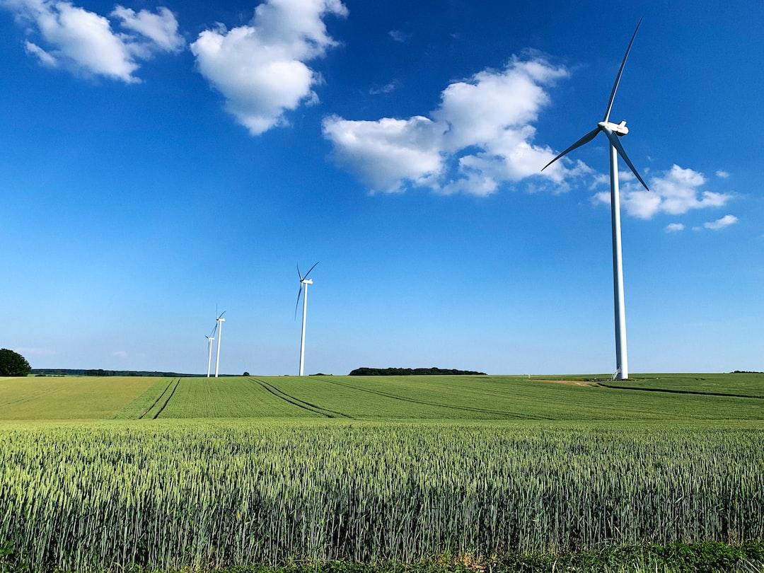 Wind turbines in a wheat field (Burgundy, France)