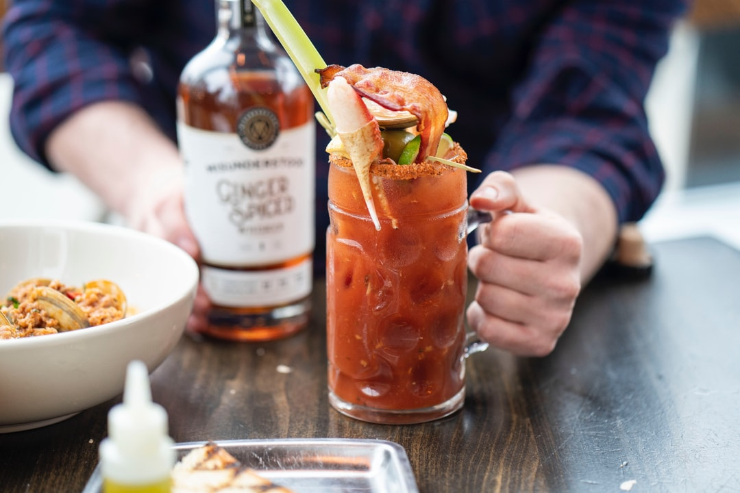 Misunderstood Whiskey Bloody Mary with loaded toppings.