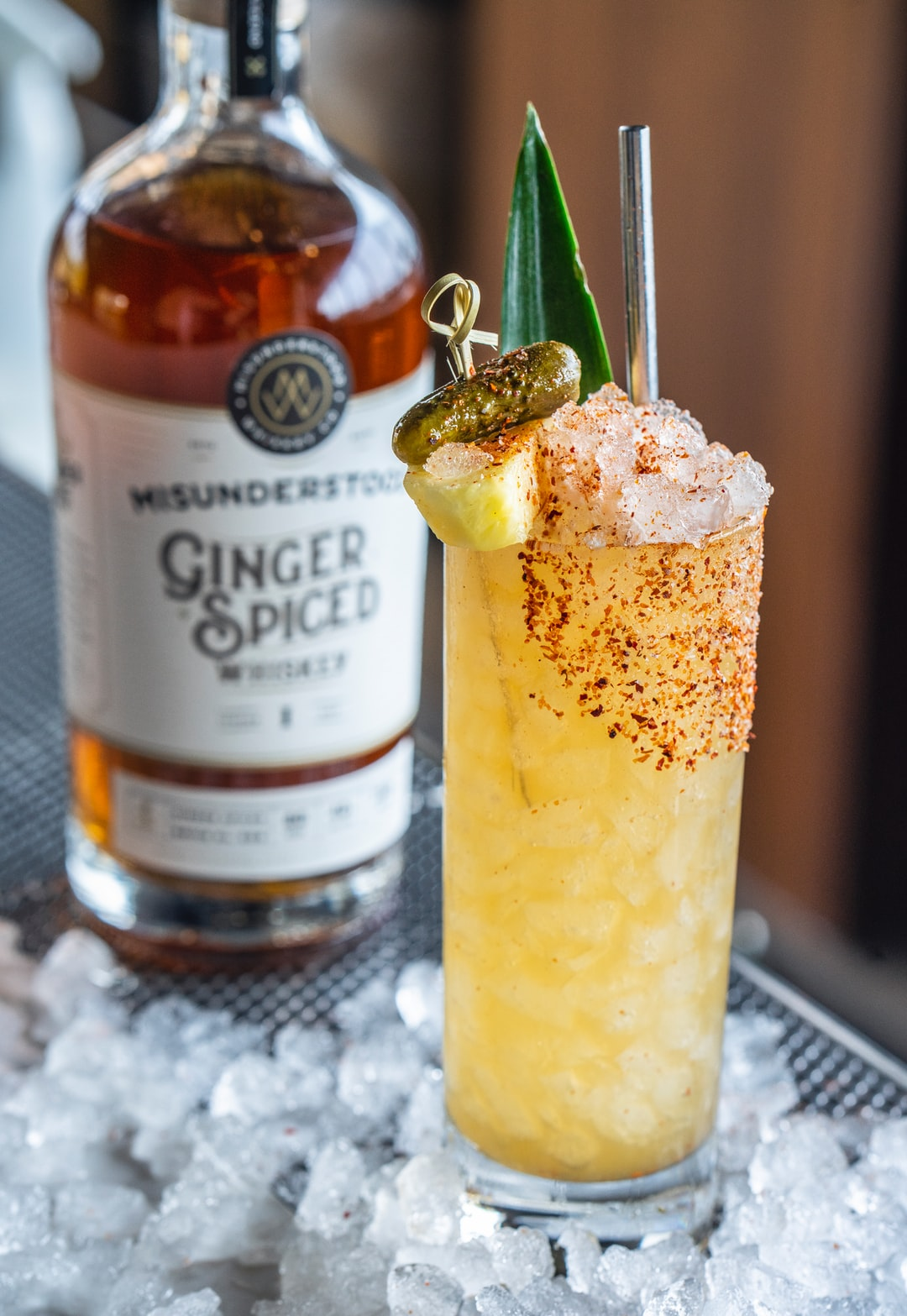 Tiki Pickle cocktail featuring Misunderstood Ginger Spiced Whiskey