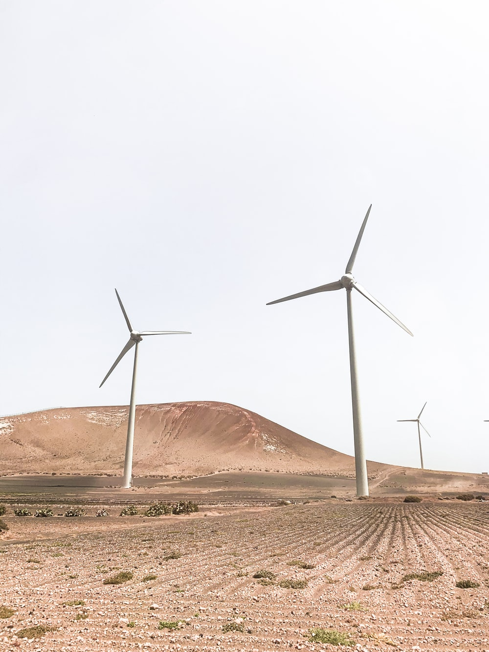 wind turbines on brown sand under white sky during daytime